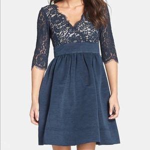 Eliza J Blue Lace & Faille Empire Waist Dress